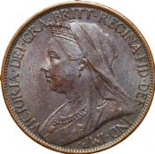 1895 to 1901 Farthing Old Head Queen Victoria Grade From Fair to VF